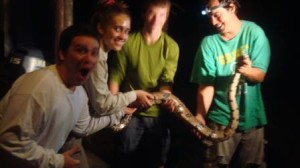 Lesley students making a reptile friend in Guyana.