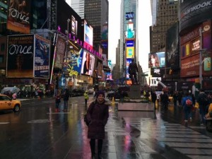 Lesley student Diba Feroz in New York City circa Winter Break 2014.