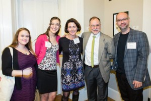 At Sigma Tau Delta English Honors Society Induction: pictured from left, students Katie Reuning and Maria Bonfiglio, Professor Mary Dockray-Miller, author Gregory Maguire, and Assistant Professor Aaron Smith.